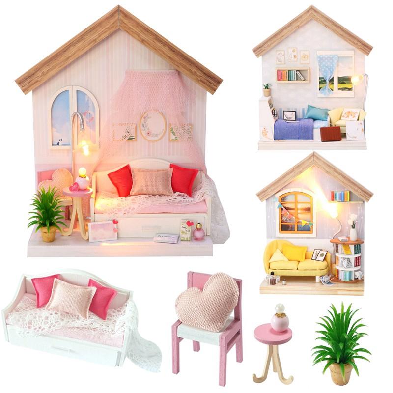 Mô hình nhà gỗ búp bê Tự, Bộ đồ chơi búp bê thu nhỏ với nội thất, làm Nhà thủ công Sưu tầm cho sở thích S912