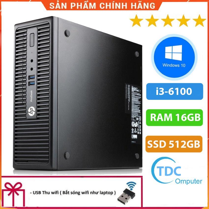 Case máy tính đồng bộ HP ProDesk 400G3 SFF, cpu core i3-6100, ram 16GB, SSD 512GB, Tặng USB thu Wifi