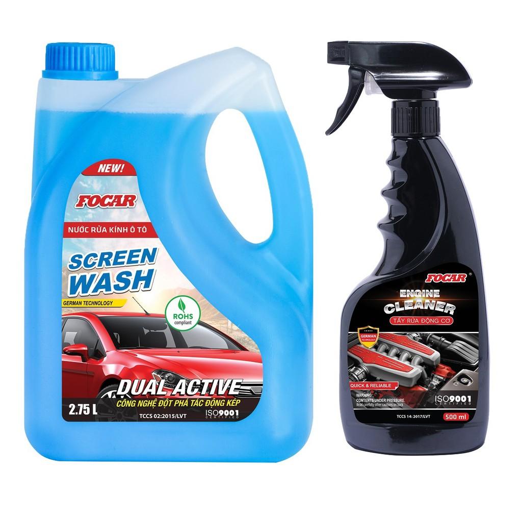 Bộ 2 sản phẩm Nước rửa kính oto Focar 2.75L + Dung dịch vệ sinh động cơ Engine Cleaner 500ml