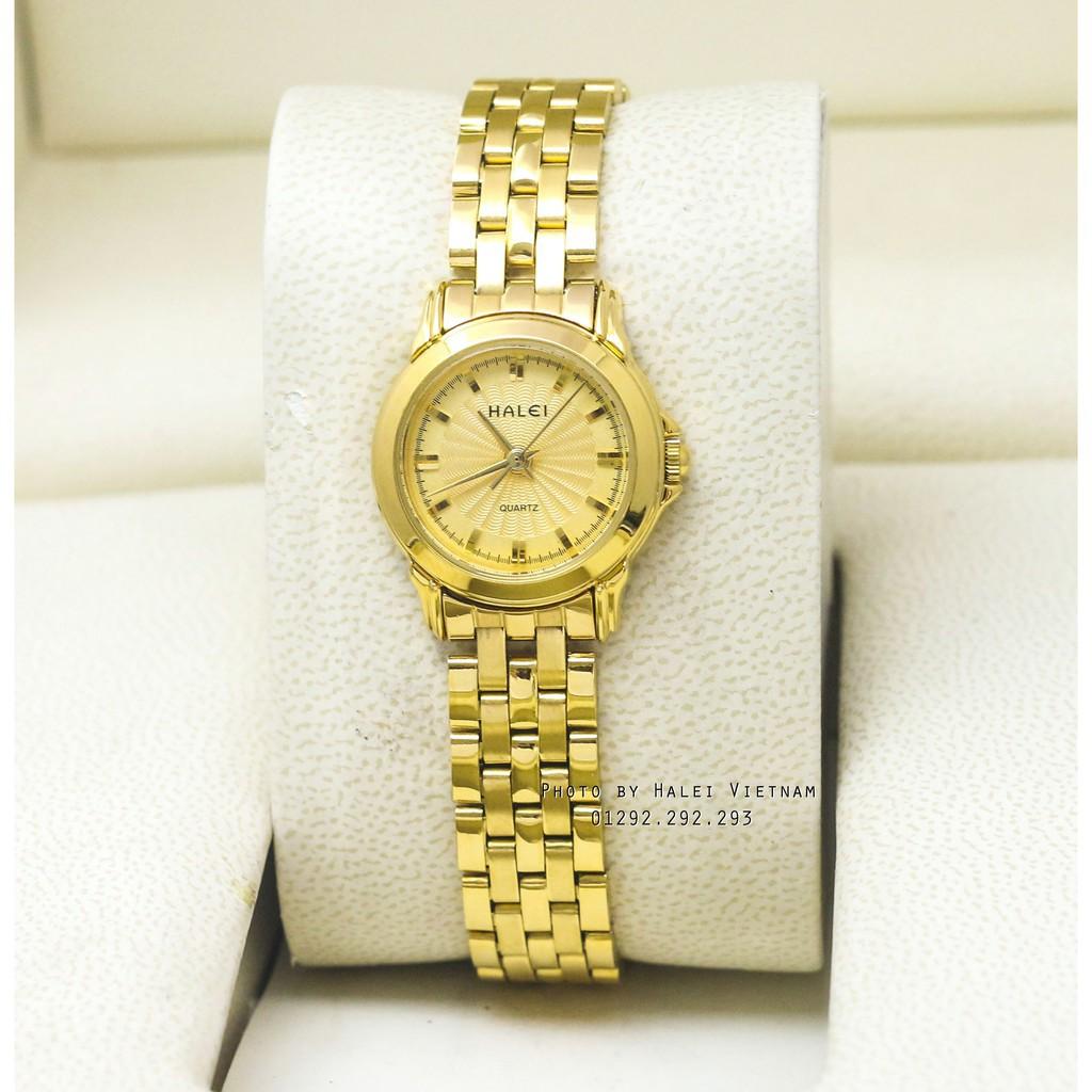 Đồng hồ halei 431 nữ màu vàng sang trọng + tặng kèm pin
