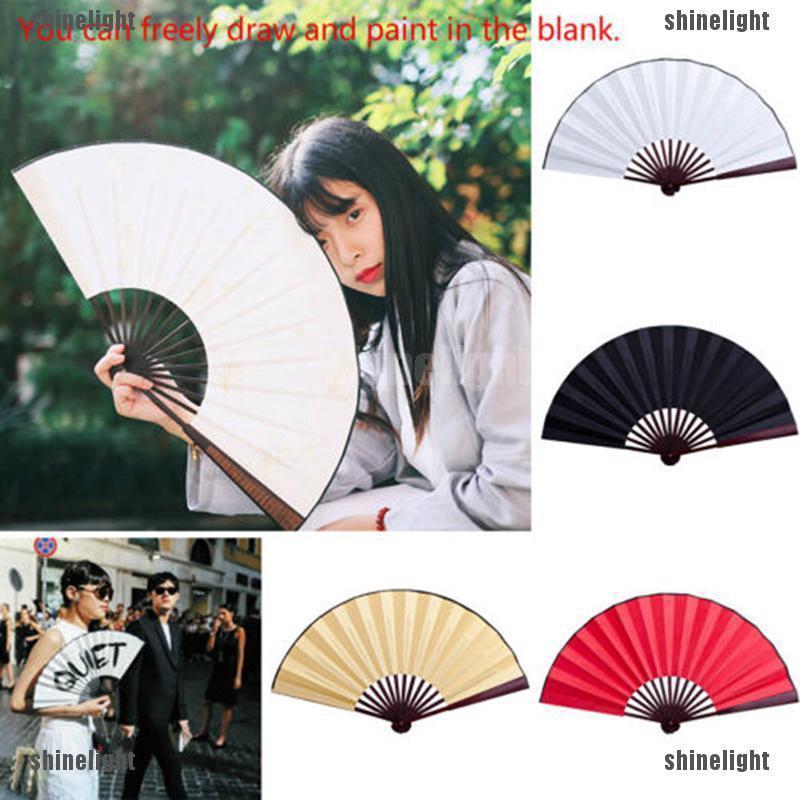 Quạt xếp bằng vải Silk phong cách Trung Hoa