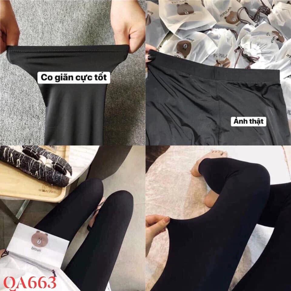Quần legging tất mặc nhà mặc ngủ và quần tập Gym siêu co dãn kèm túi gấu Cute | SaleOff247