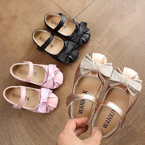 Giày búp bê đế mềm chống trượt đính nơ dễ thương cho bé gái