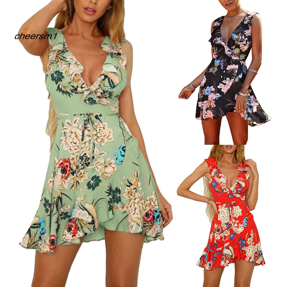 CHE♥Bohemia Summer Beach Women Flower Print Ruffled V Neck Sleeveless Mini Dress
