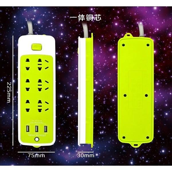 Ổ điện đa năng có 6 ổ cắm và 3 cổng USB
