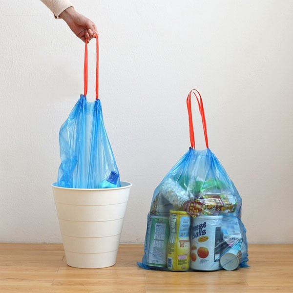 Cuộn 15 túi đựng rác sinh học có dây rút - túi rác cỡ lớn