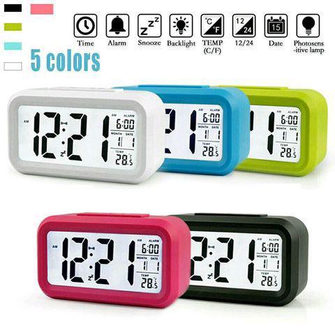 LED kỹ thuật số đồng hồ báo thức điện tử Thời gian đèn nền với lịch và nhiệt kế