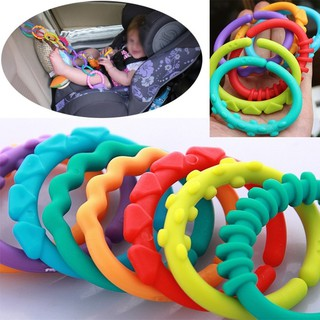 6pcs Plastic Baby Kids Infant Rainbow Teether Ring Links Stroller Gym Toys