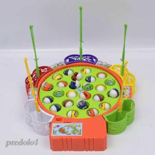 Fun Fushing Game Set Electronic Rotating Fish Board with 24 Fishes Kids Gift