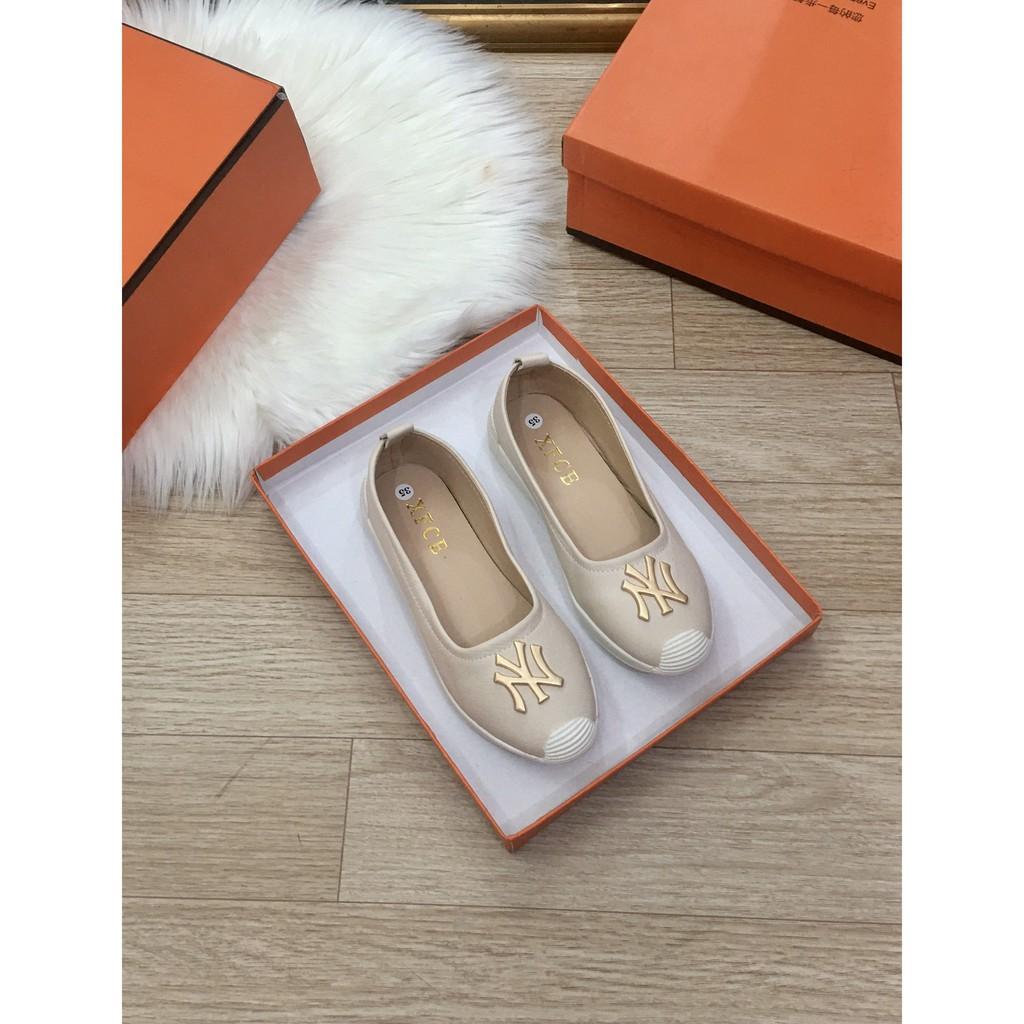 Giày lười nữ phối chữ nyyy chất da mềm êm chân