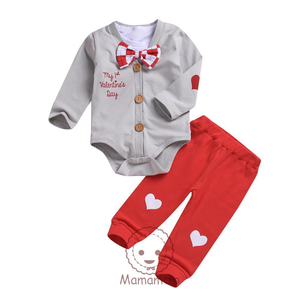 ♥Valentines Day Baby Clothes Set Long Sleeve Cute Buttons Coat Rompers Pants