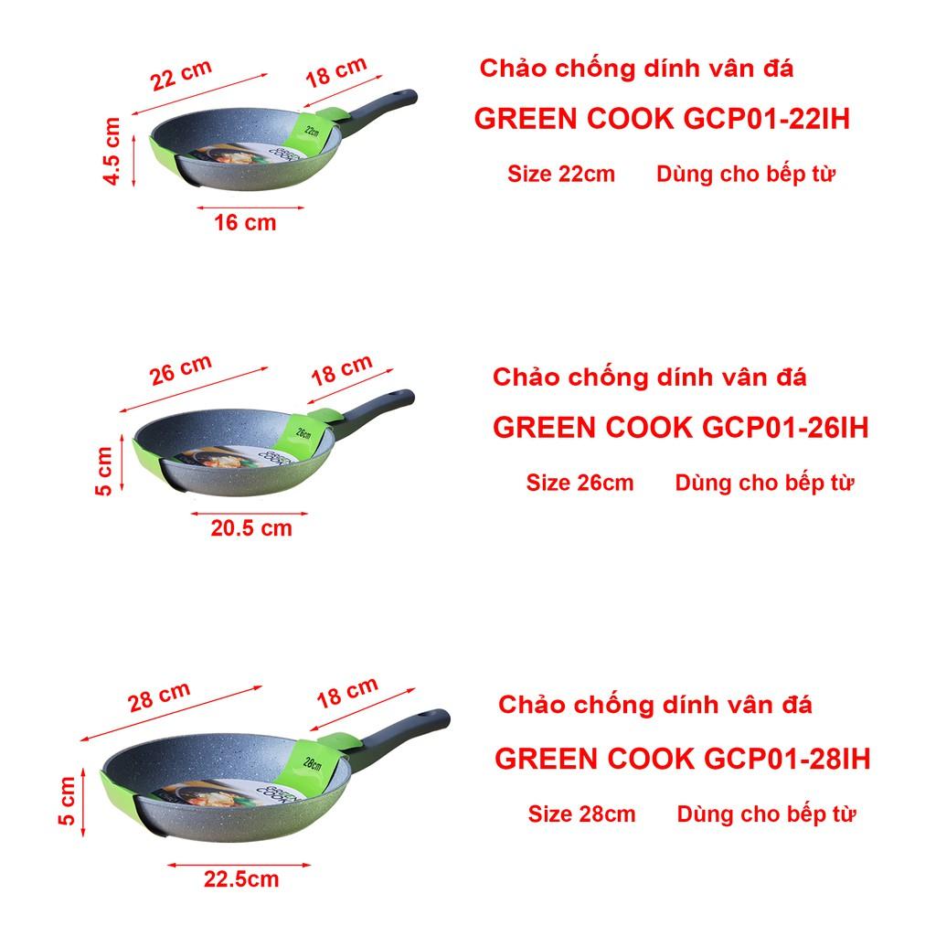 Chảo vân đá từ chống dính cạn và sâu lòng Green Cook GCP01 GCP02 22 24 26 28 cm