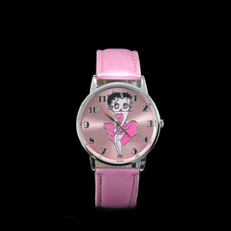 Stylish Wrist Watch Betty Boop Pattern Leather Band  Watch Pink