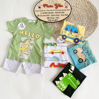 Sale !!! Bộ Cộc Tay Cotton 100 % Hàng Minky Mom In Họa Tiết ZOOMA-Quấn Có Túi Cho Bé (8-18kg)(1413 )_Shop Phúc Yến