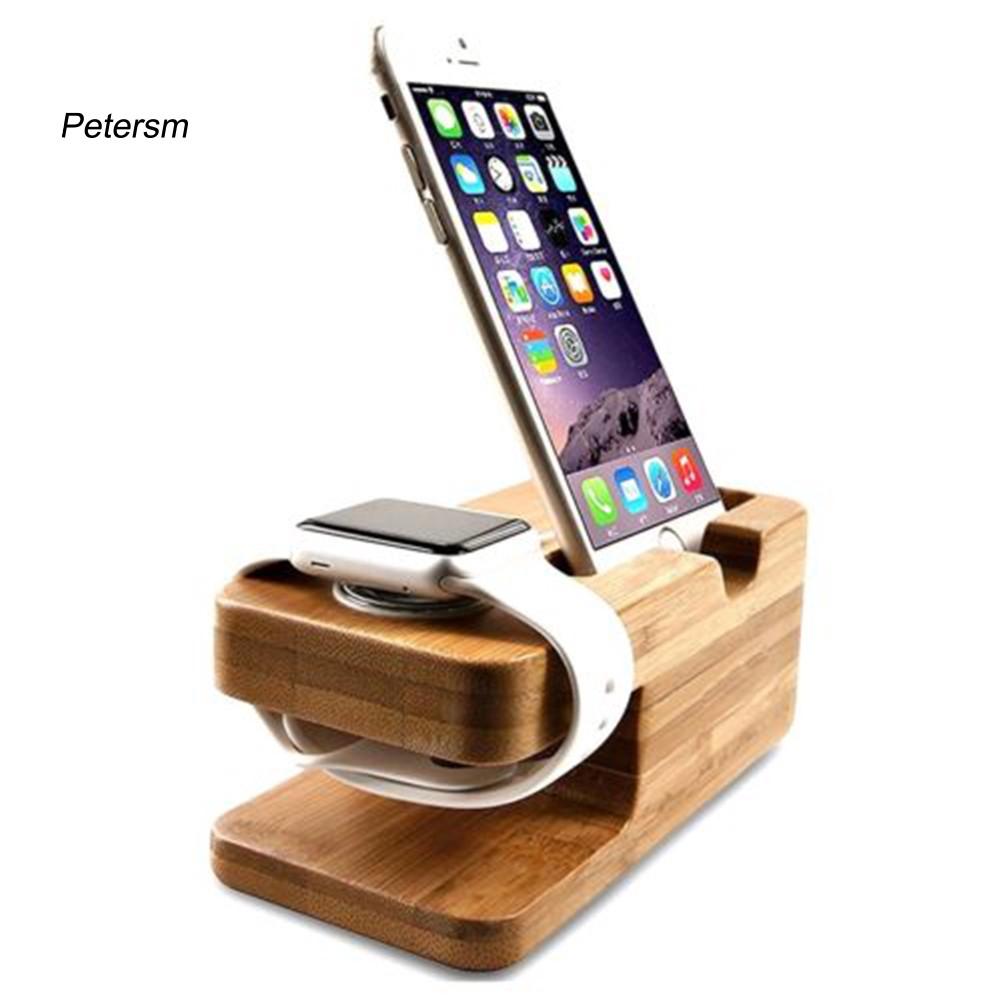 Đế Sạc Bằng Gỗ Tre Cho Apple Watch Iphone