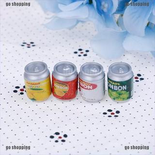 go shopping 4Pcs 1 12 Dollhouse miniature drink cans doll house kitchen accessories thumbnail
