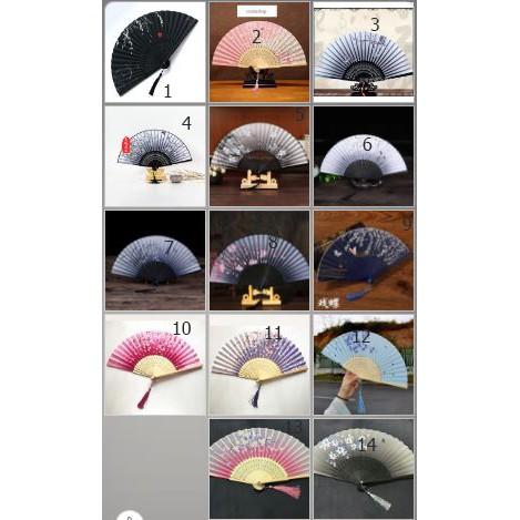 Quạt cổ trang dây tuyến bản lụa 50 - 14 mẫu quạt xếp cầm tay phong cách Trung Quốc phong cách cổ trang Trung quốc cổ đại