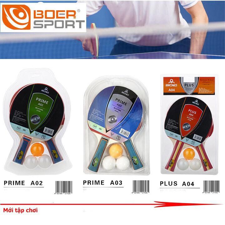 bộ vợt bóng bàn tặng kèm 2 bóng Boer A06