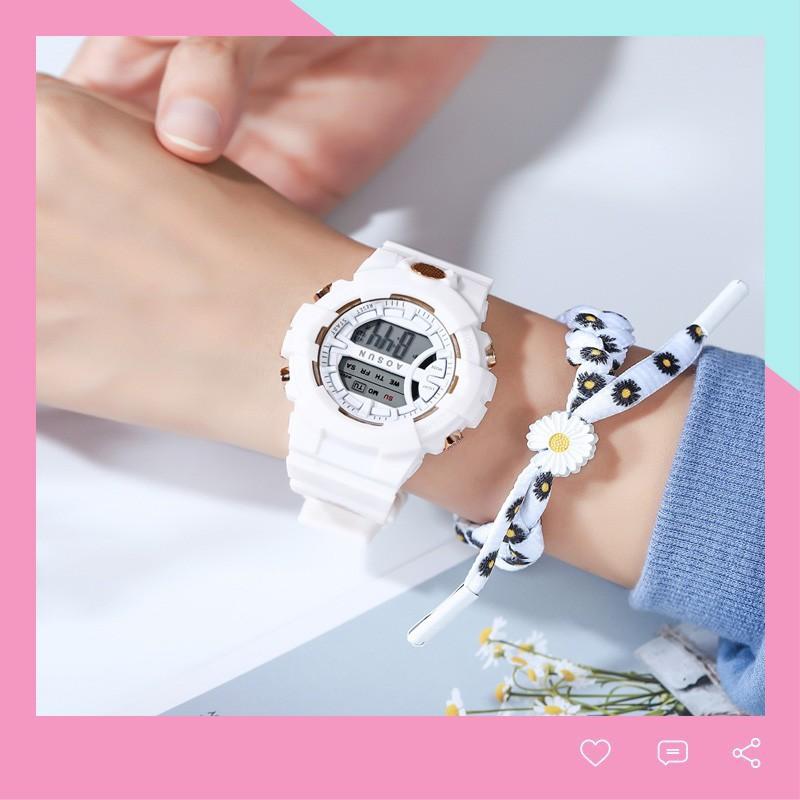 Đồng hồ thể thao Unisex Aosun dây cao su cực bền DH107