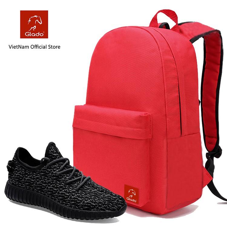 Combo Balo Classical Glado BLL004 (Màu Đỏ) + Giày Sneaker GS011 (Màu Đen)