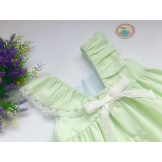 Đầm bé gái xanh mint phối ren