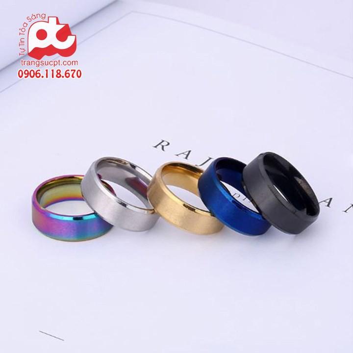Nhẫn inox trơn nhiều màu cao cấp thời trang thép không gỉ