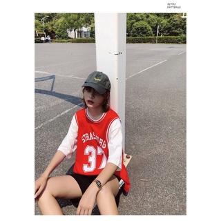 Áo bóng rổ nam nữ form rộng tay lỡ số 37 màu ĐỎ 7