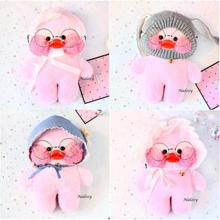 { HÀNG CÓ SẴN } -Gấu bông bé vịt má hồng đội 4 kiểu nón cute