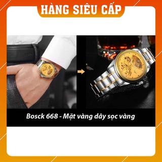 [CAO CẤP] Đồng hồ nam máy cơ Bosck Automatic dây kim loại - Mặt vàng dây demi
