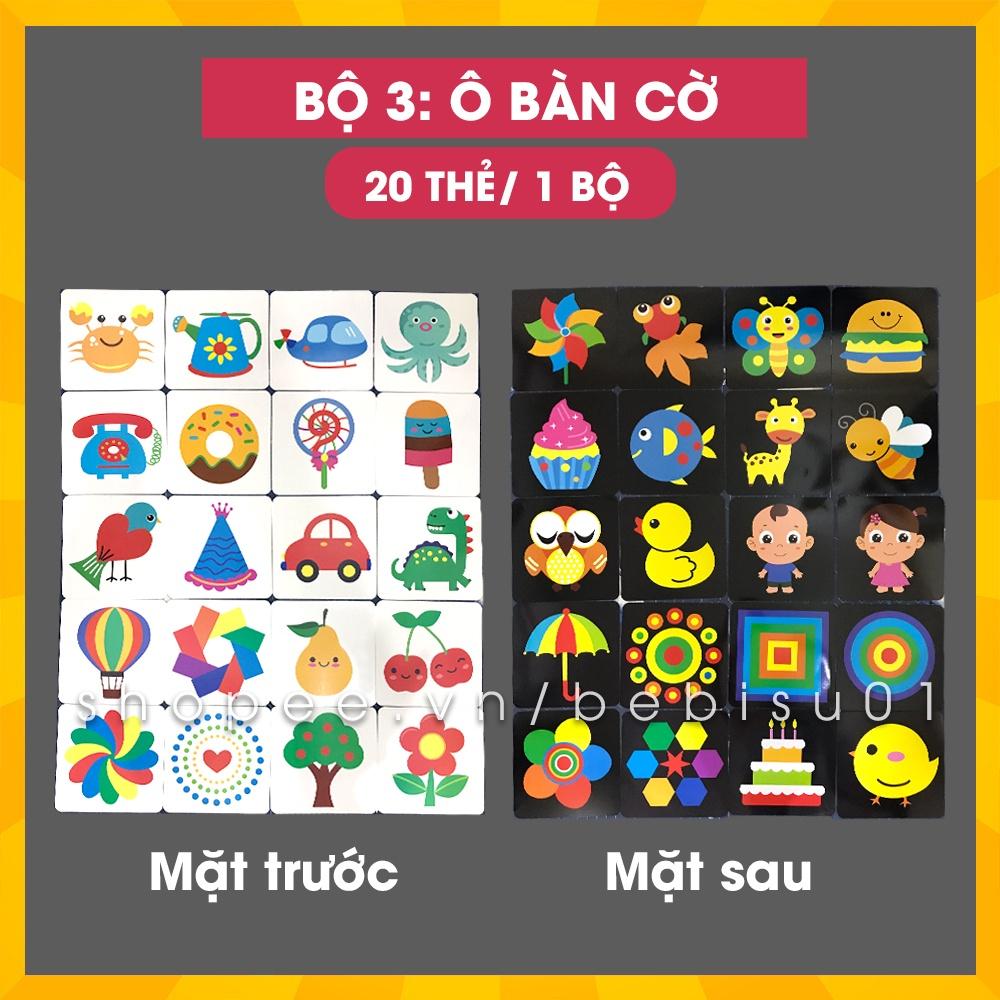 Bộ 20 thẻ kích thích thị giác, kích thích não phải cho bé từ 0 tới 36 tháng | Khổ 21x21cm | In 2 mặt chống thấm nước