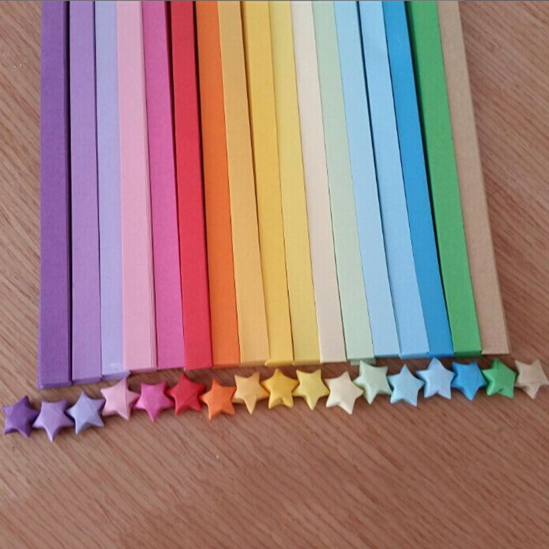 Folding Art Star Folding Paper Lucky Wish Star Origami Papers Ribbon Supplies