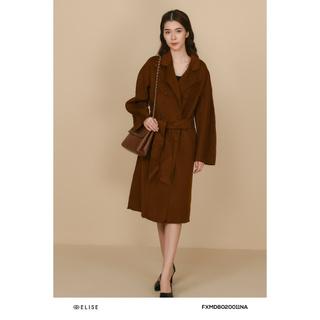 Áo măng tô dạ nâu lông cừu Elise thumbnail