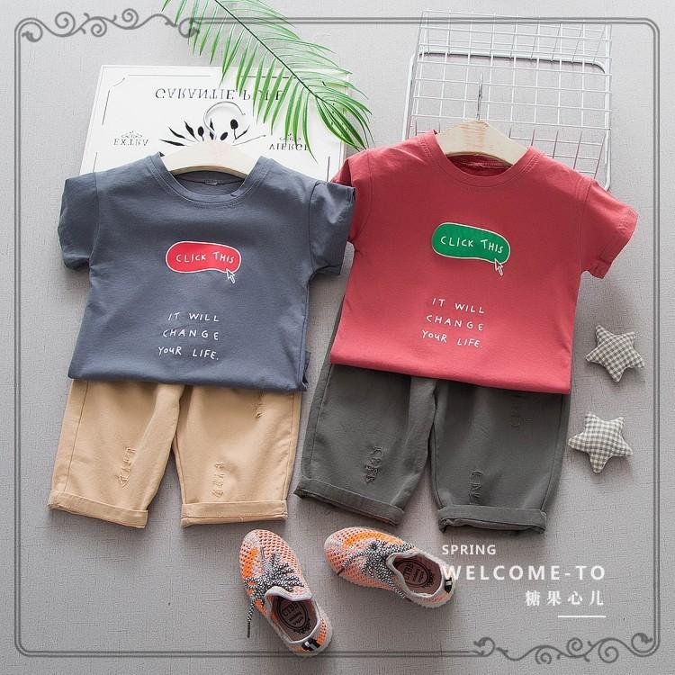 Bộ quần kaki, áo phông bé trai size 10-20kg