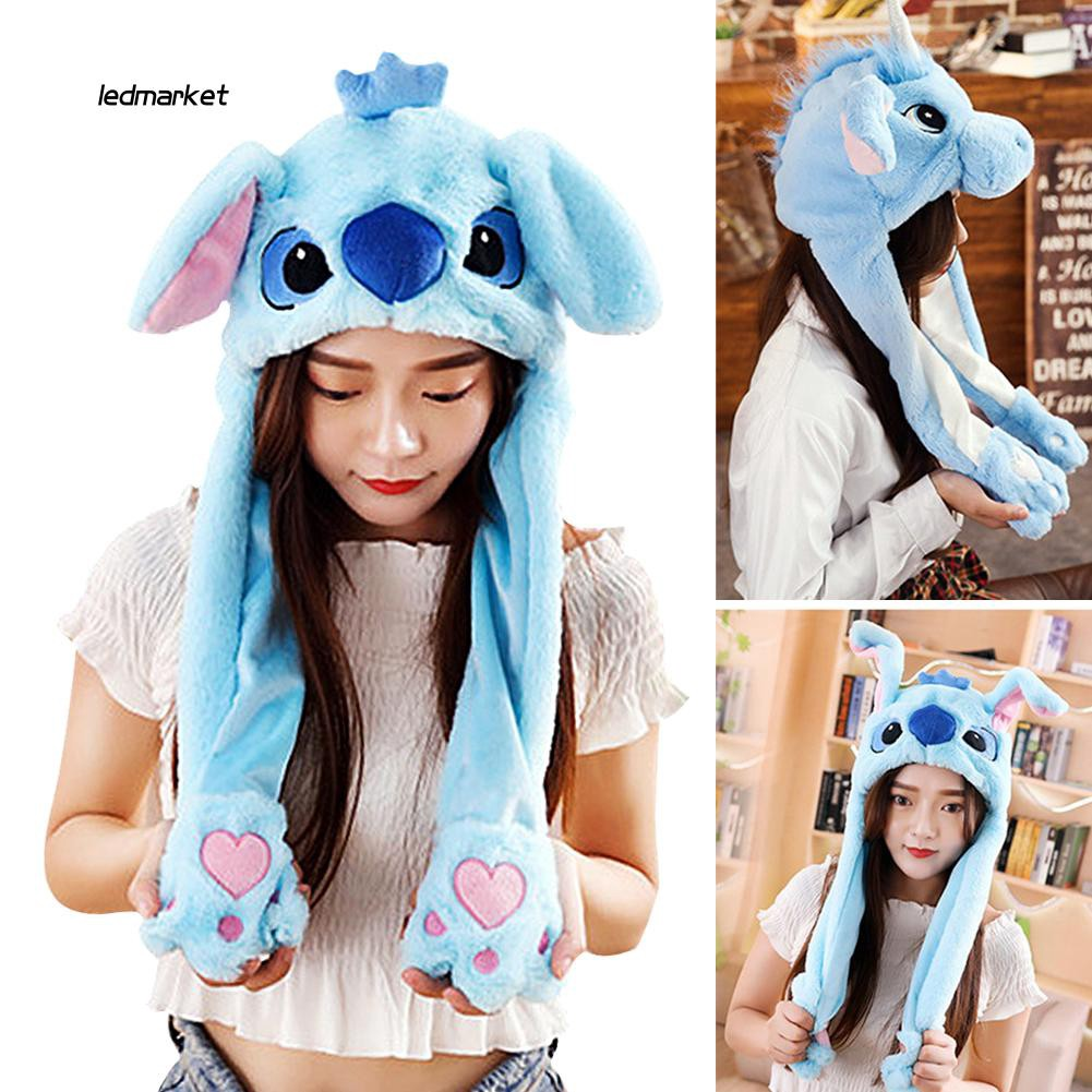 LDMK_Cartoon Unicorn Stitch Press Air Bag Moving Ears Hat Plush Cute Soft Warm Cap