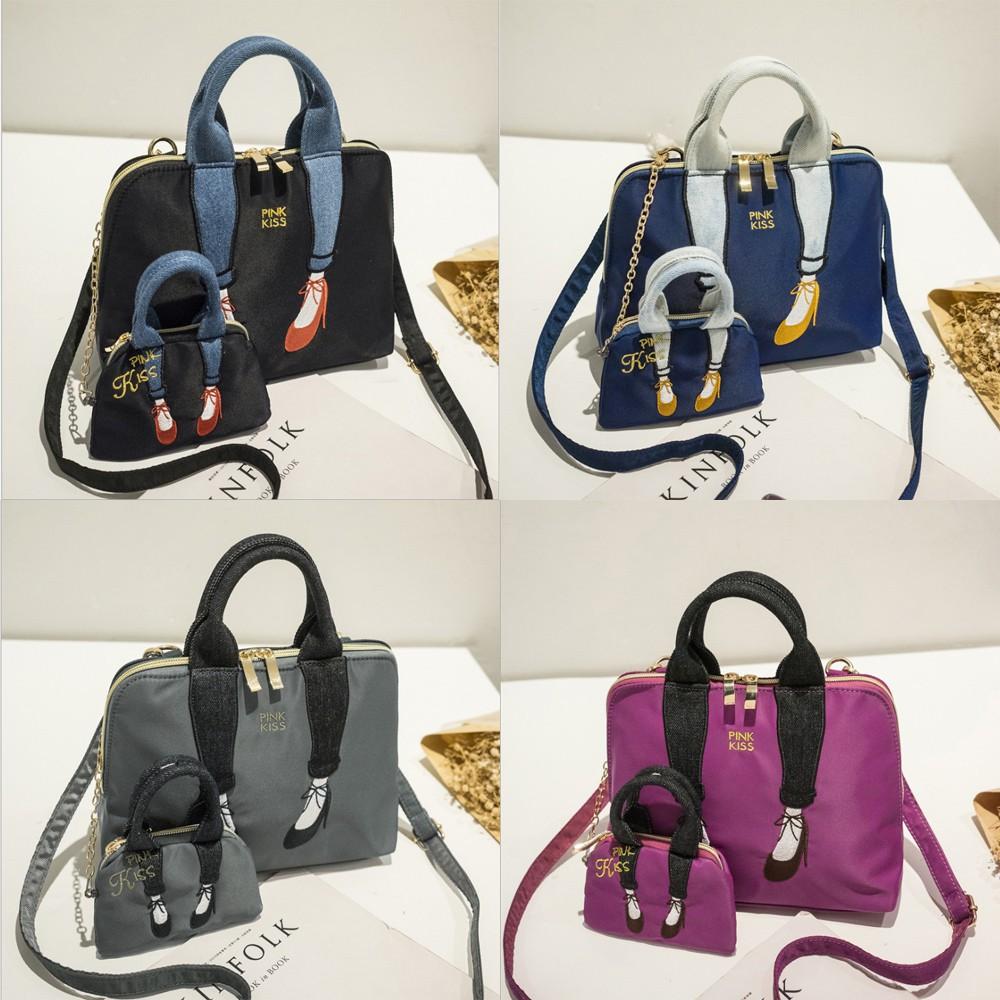 Women Fashion Leg Bump color- Oxford Cloth Oblique Straddle Bag Handbag