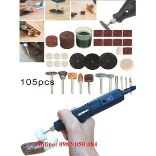 Máy khoan mài cắt mini tặng Bộ phụ kiện máy khoan mài cắt khắc đánh bóng mini 105 chi tiết như hình IKO -105