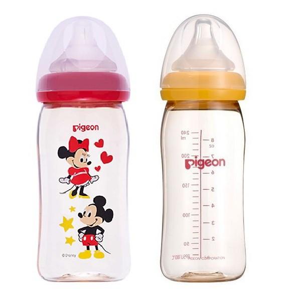 [Nhập MKBBABYMART giảm 8%] Bình sữa Pigeon nhựa PPSU Plus cổ rộng 240ml BS044