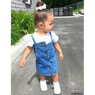 ➹-Toddler Kid Baby Girl Clothes Casual Shirt Denim Dress Jean Skirt Outfit*