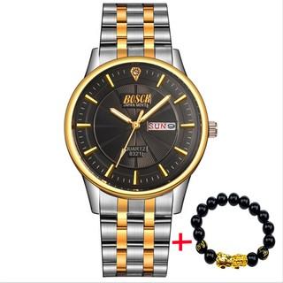 Đồng hồ nam BOSCK japan movt 88999 dây thép không gỉ cao cấp + Tặng kèm vòng tay tỳ hưu may mắn thumbnail
