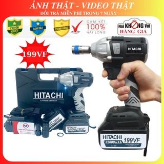 Máy siết bulong Hitachi 199VF – 2 PIN – Đầu 2 trong 1 – Máy bắn bulong KHÔNG CHỔI THAN – TẶNG Đầu chuyển vít, khẩu 22mm