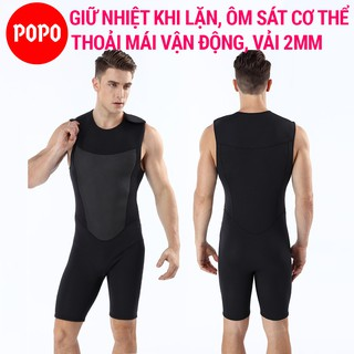 Bộ đồ lặn biển liền thân cho nam dày 2mm POPO quần áo lặn biển giữ nhiệt, giữ ấm cơ thể thợ lặn thumbnail
