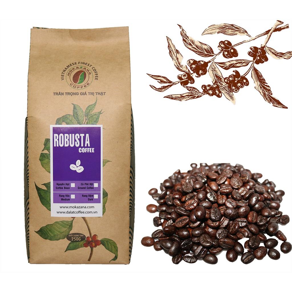 Cà phê nguyên chất Robusta rang đậm Mokazana Coffee - Gói 250g