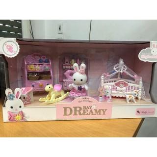 Bộ đồ chơi nhà thỏ với giường và đồ chơi em bé