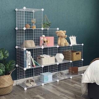 Yêu Thích[BÁN THEO TẤM]- Tấm Lưới sắt thép lắp ghép đa năng: giá để sách, đồ trang trí, chuồng quây chó mèo, decor trang trí nhà