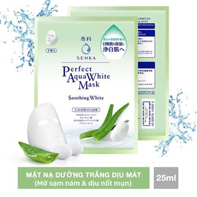 Hộp 7 Mặt Nạ Dưỡng Trắng Dịu Mát Da Senka Perfect Aqua White Mask – Soothing White 25ml