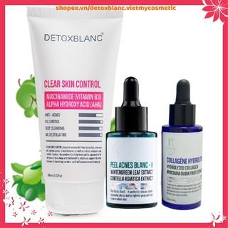 Combo loại bỏ mụn dưỡng trắng da hiệu quả Detox blanc (Serum H+serum collagen+sữa rửa mặt) thumbnail