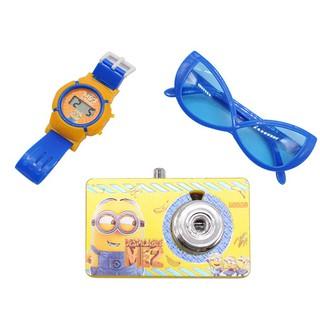 Máy chiếu đồ chơi trẻ em hình Minion kèm đồng hồ