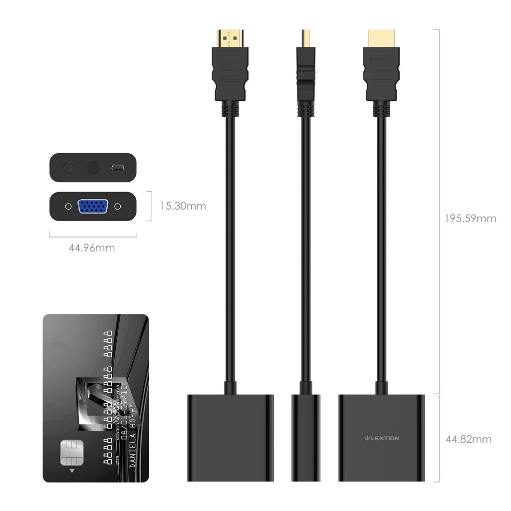 LENTION HDMI to 1080P VGA Adapter Converter with 3.5mm Audio Jack