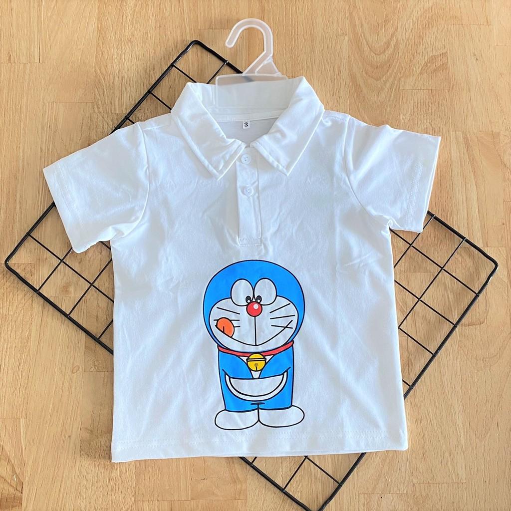 Áo thun cổ trụ Đô Rê Mon cho bé trai, chất vải thun cotton 4 chiều dày dặn, co giãn tốt - áo thun Tết cho bé
