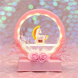 ◙☄♧Teenage heart dream unicorn music bell small night light bedroom girl room decorative gift to send honey girlfriend